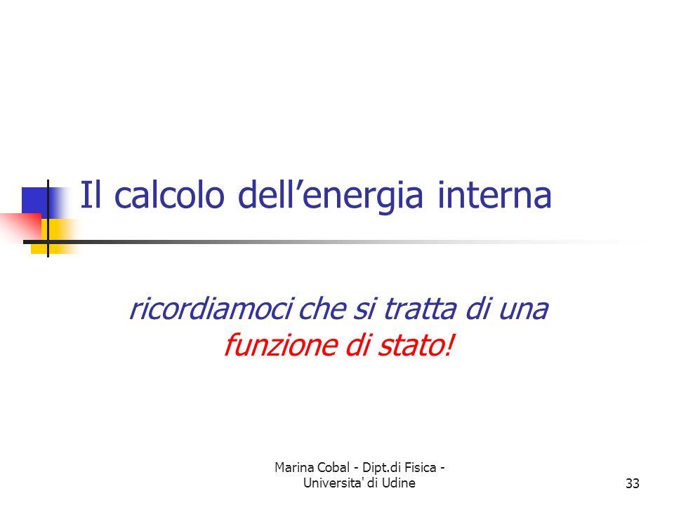 Il calcolo dell'energia interna