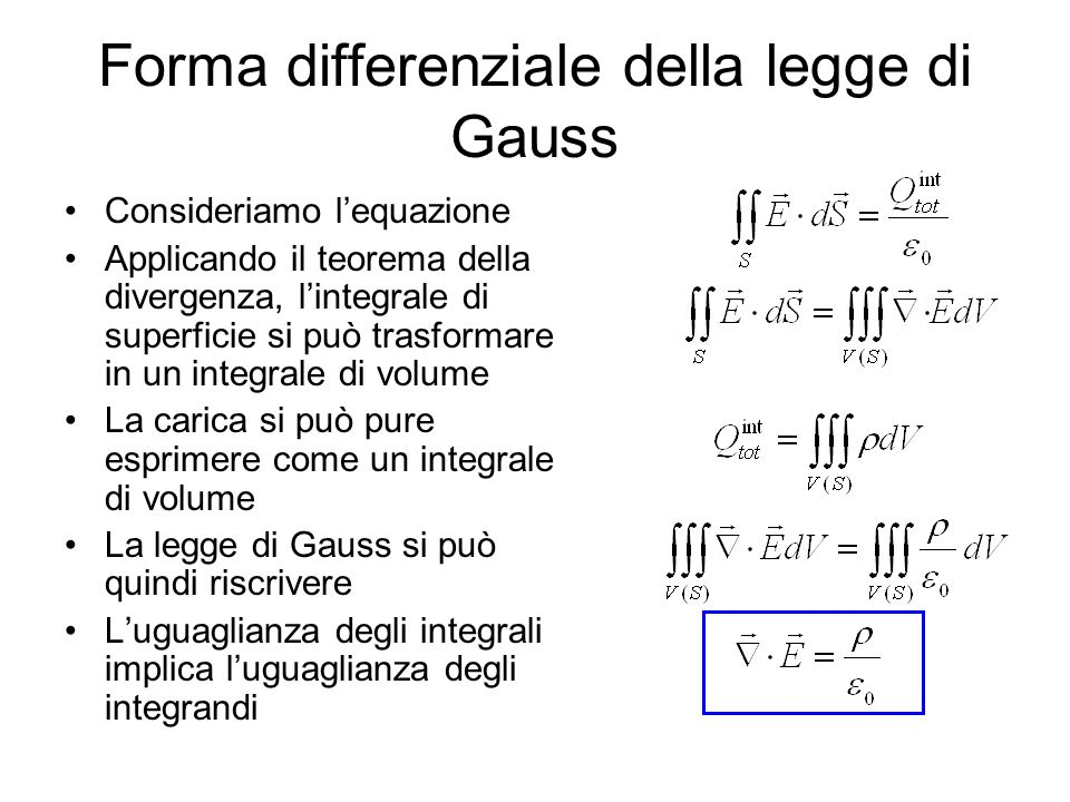 Forma differenziale della legge di Gauss