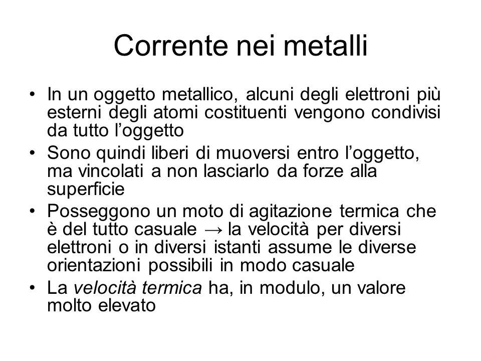 Corrente nei metalli In un oggetto metallico, alcuni degli elettroni più esterni degli atomi costituenti vengono condivisi da tutto l'oggetto.