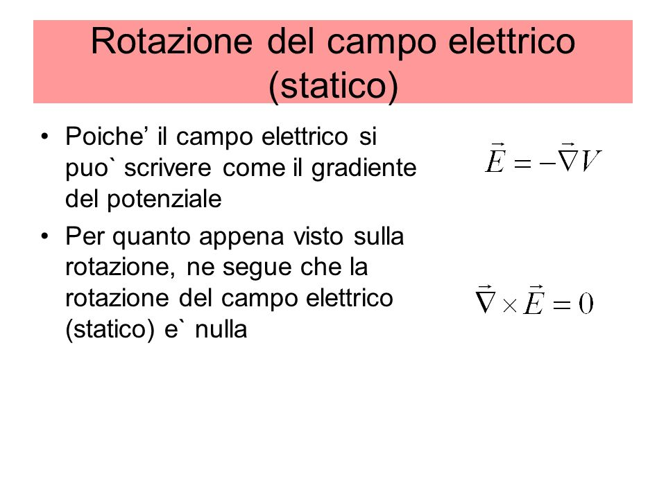 Rotazione del campo elettrico (statico)