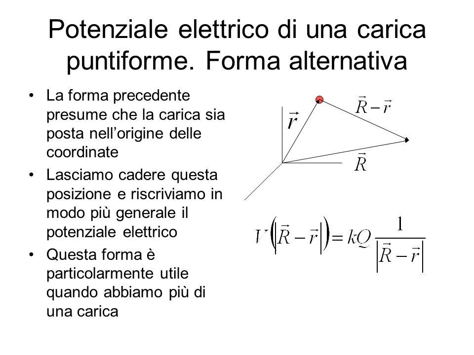 Potenziale elettrico di una carica puntiforme. Forma alternativa