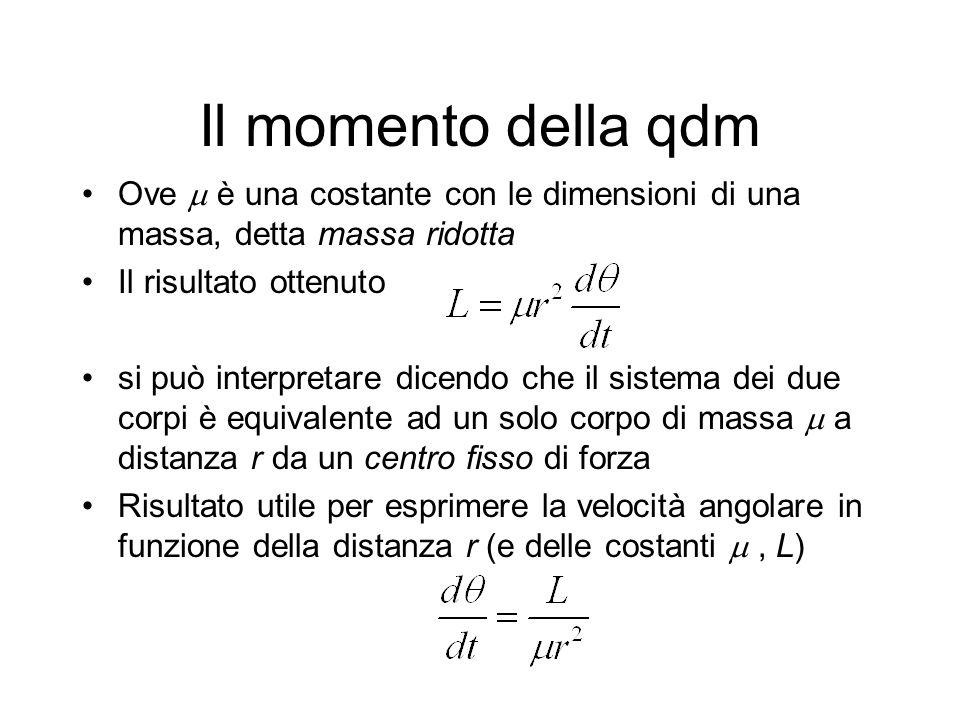 Il momento della qdm Ove  è una costante con le dimensioni di una massa, detta massa ridotta. Il risultato ottenuto.