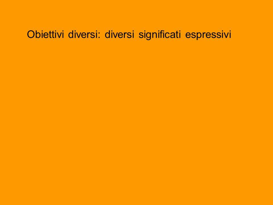 Obiettivi diversi: diversi significati espressivi