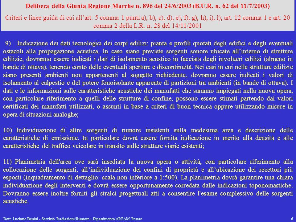 Delibera della Giunta Regione Marche n. 896 del 24/6/2003 (B. U. R. n