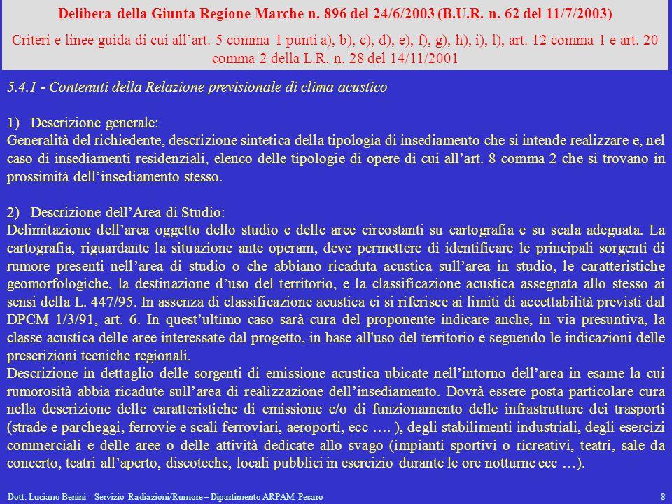 5.4.1 - Contenuti della Relazione previsionale di clima acustico