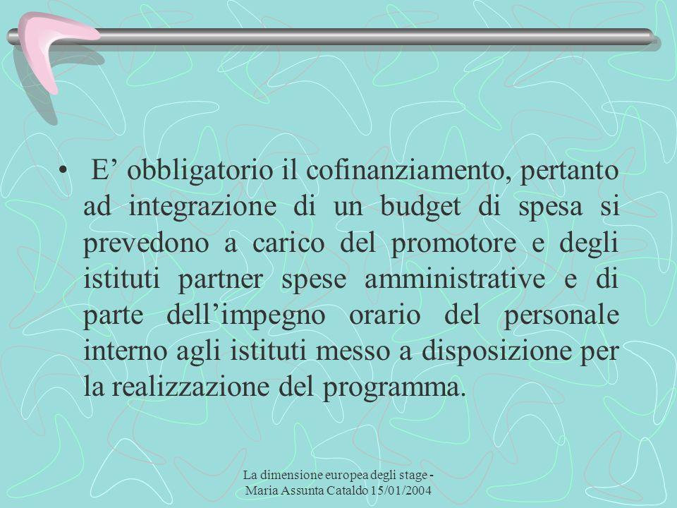 La dimensione europea degli stage - Maria Assunta Cataldo 15/01/2004