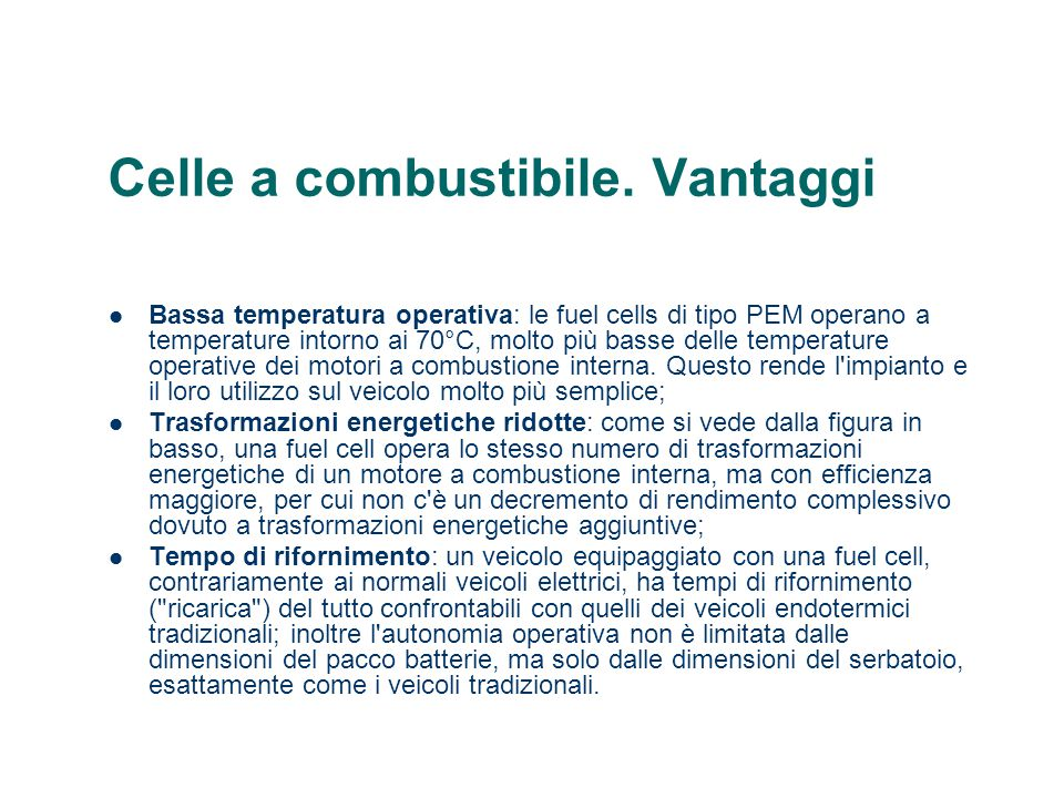 Celle a combustibile. Vantaggi