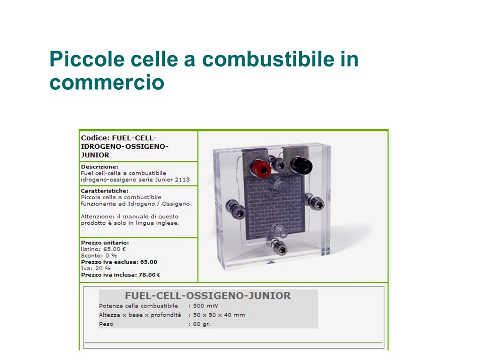 Piccole celle a combustibile in commercio