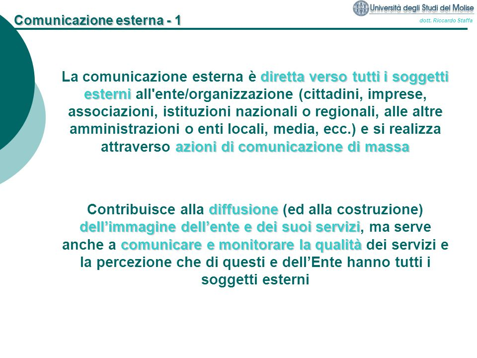 Comunicazione esterna - 1