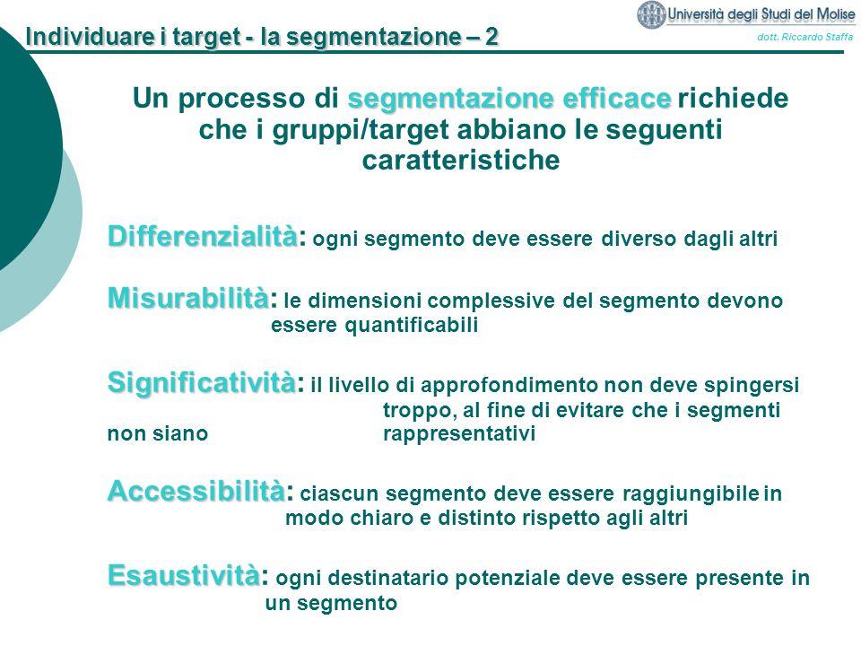 Individuare i target - la segmentazione – 2