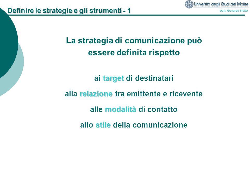 Definire le strategie e gli strumenti - 1