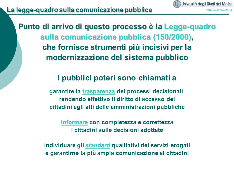 La legge-quadro sulla comunicazione pubblica