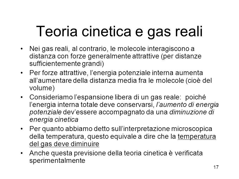 Teoria cinetica e gas reali