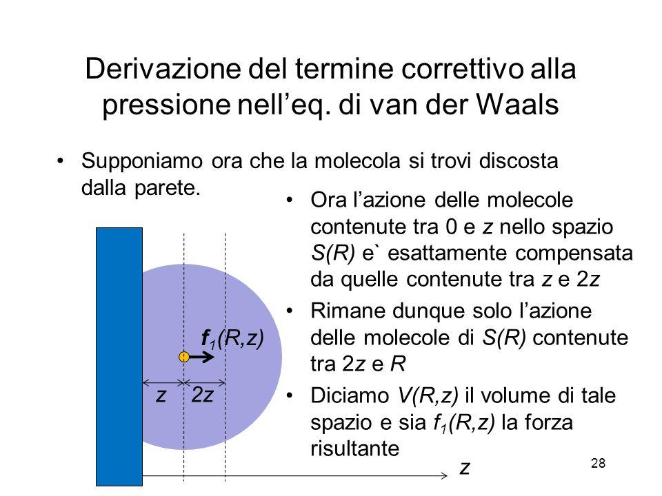 Derivazione del termine correttivo alla pressione nell'eq