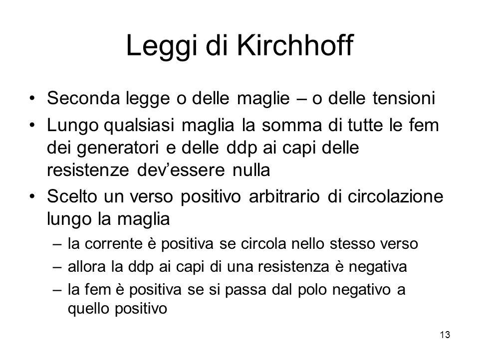 Leggi di Kirchhoff Seconda legge o delle maglie – o delle tensioni