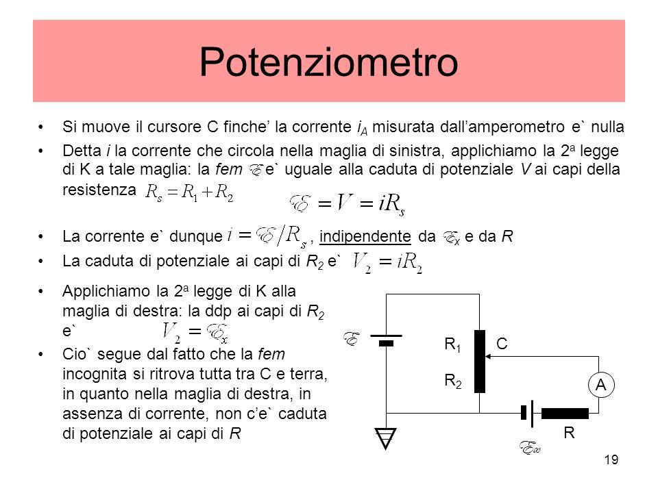 Potenziometro Si muove il cursore C finche' la corrente iA misurata dall'amperometro e` nulla.