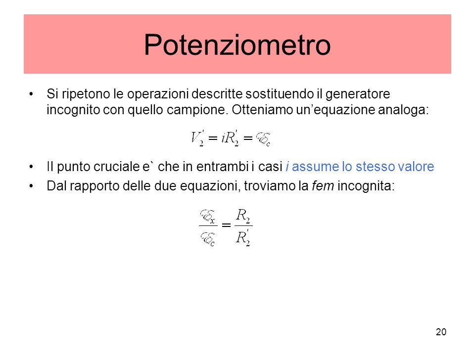 Potenziometro Si ripetono le operazioni descritte sostituendo il generatore incognito con quello campione. Otteniamo un'equazione analoga: