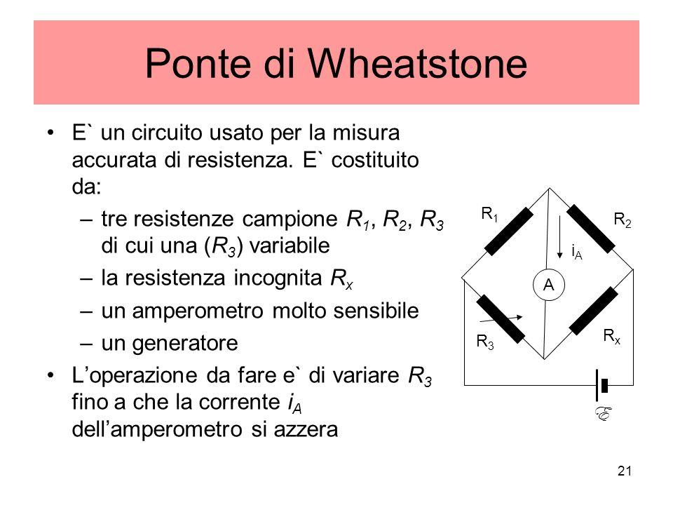 Ponte di Wheatstone E` un circuito usato per la misura accurata di resistenza. E` costituito da: