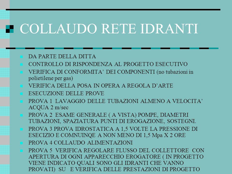 COLLAUDO RETE IDRANTI DA PARTE DELLA DITTA