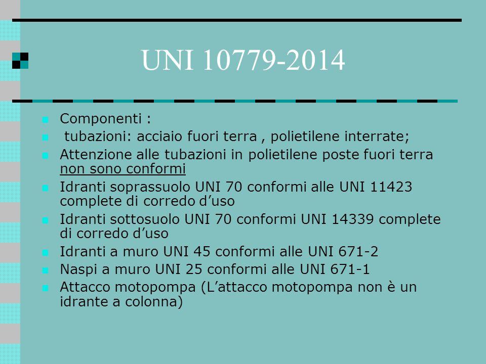UNI 10779-2014 Componenti : tubazioni: acciaio fuori terra , polietilene interrate;