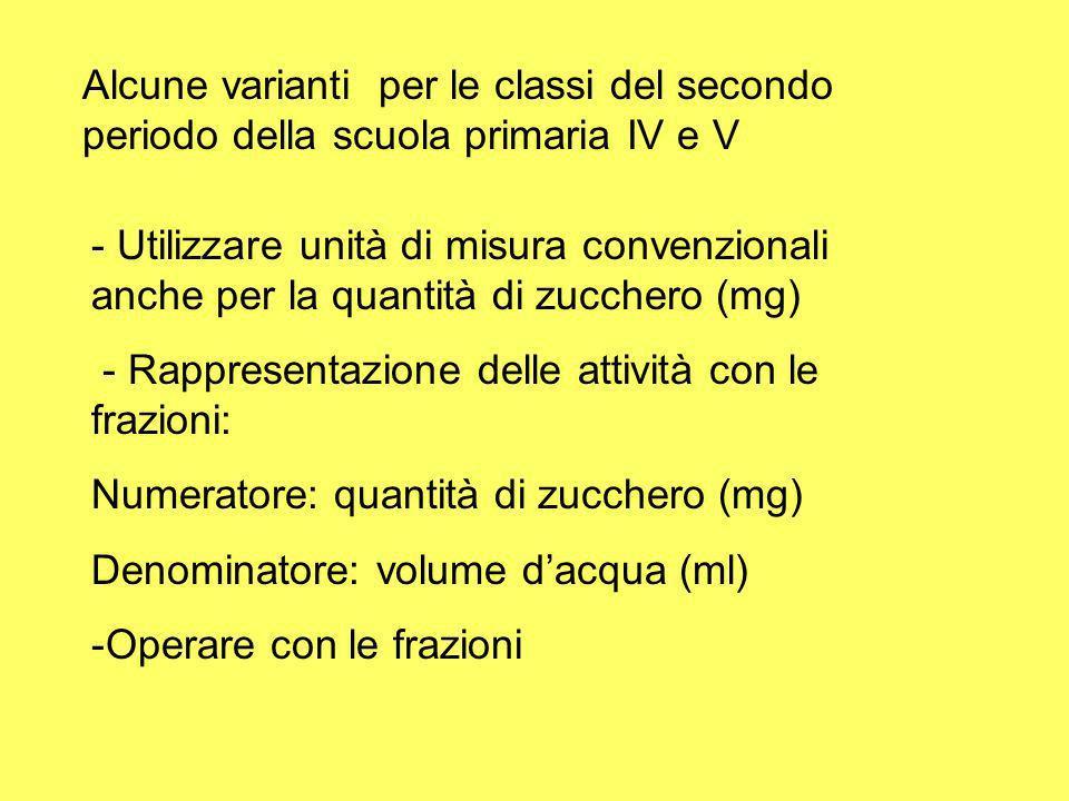 Alcune varianti per le classi del secondo periodo della scuola primaria IV e V