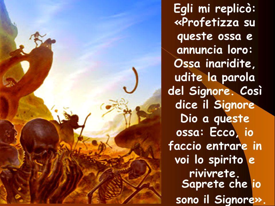 Egli mi replicò: «Profetizza su queste ossa e annuncia loro: Ossa inaridite, udite la parola del Signore. Così dice il Signore Dio a queste ossa: Ecco, io faccio entrare in voi lo spirito e rivivrete.