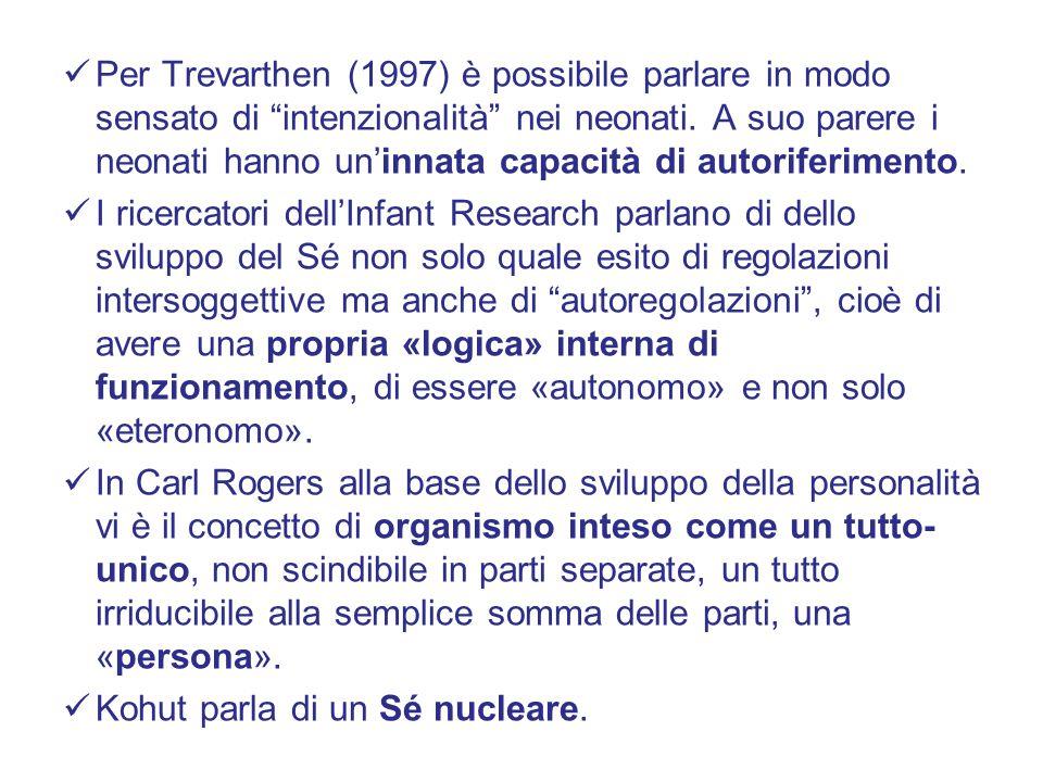 Per Trevarthen (1997) è possibile parlare in modo sensato di intenzionalità nei neonati. A suo parere i neonati hanno un'innata capacità di autoriferimento.
