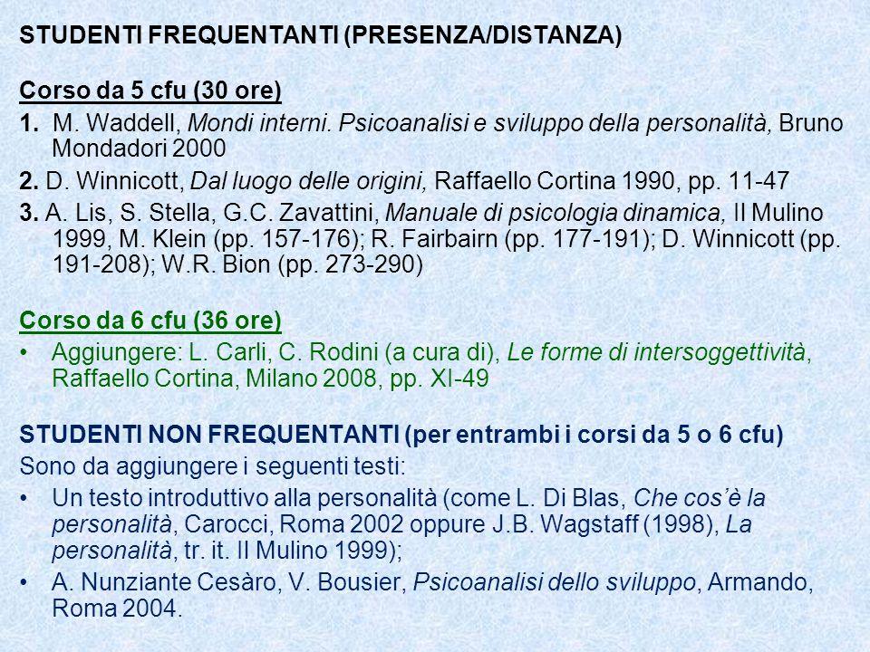 STUDENTI FREQUENTANTI (PRESENZA/DISTANZA)