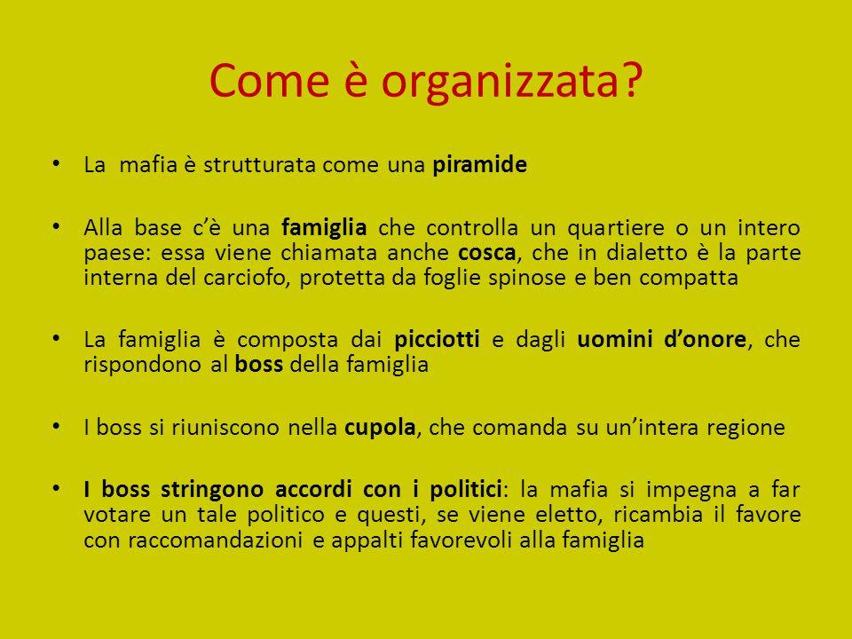 Come è organizzata La mafia è strutturata come una piramide