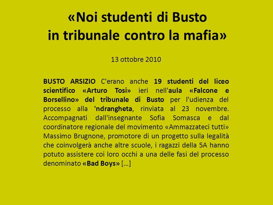 «Noi studenti di Busto in tribunale contro la mafia»
