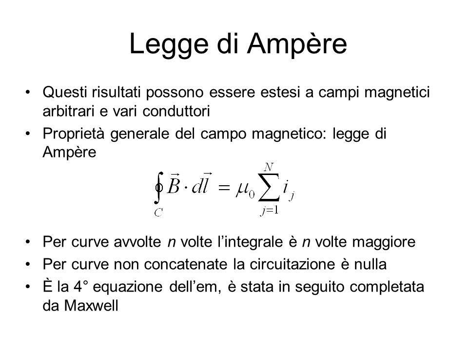 Legge di Ampère Questi risultati possono essere estesi a campi magnetici arbitrari e vari conduttori.
