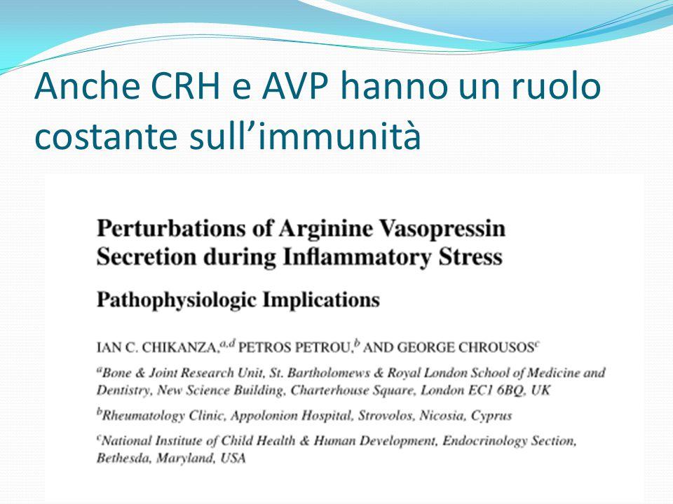 Anche CRH e AVP hanno un ruolo costante sull'immunità