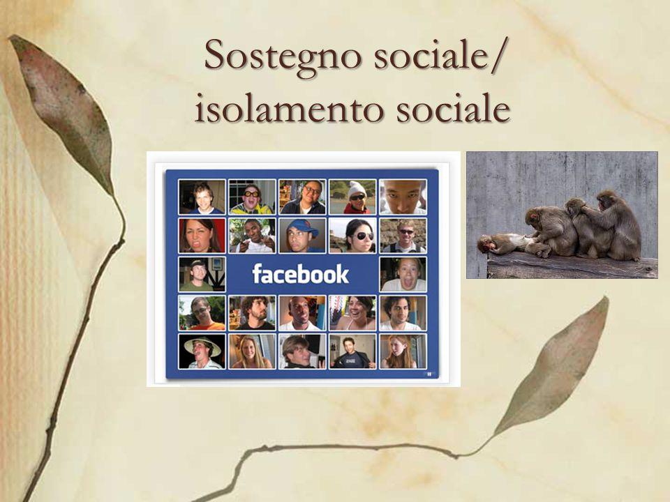 Sostegno sociale/ isolamento sociale