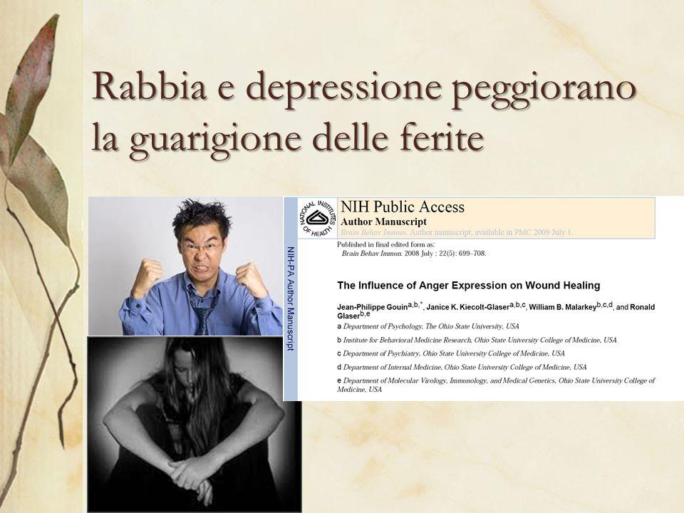 Rabbia e depressione peggiorano la guarigione delle ferite
