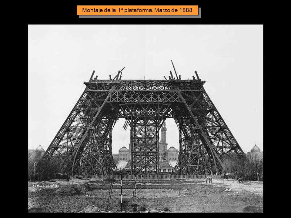 Montaje de la 1ª plataforma. Marzo de 1888