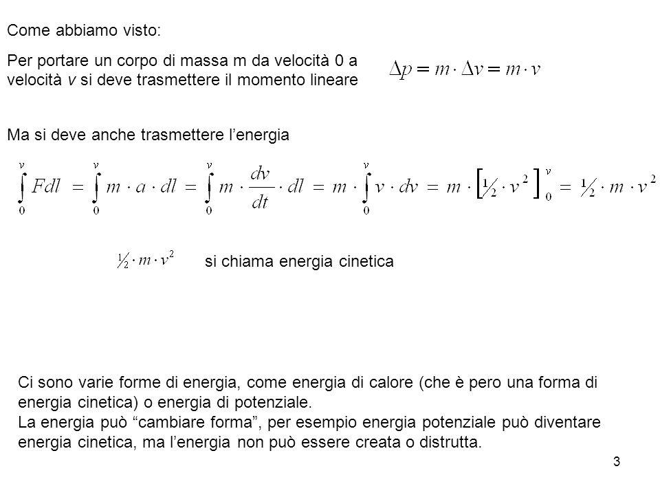 Come abbiamo visto: Per portare un corpo di massa m da velocità 0 a velocità v si deve trasmettere il momento lineare.