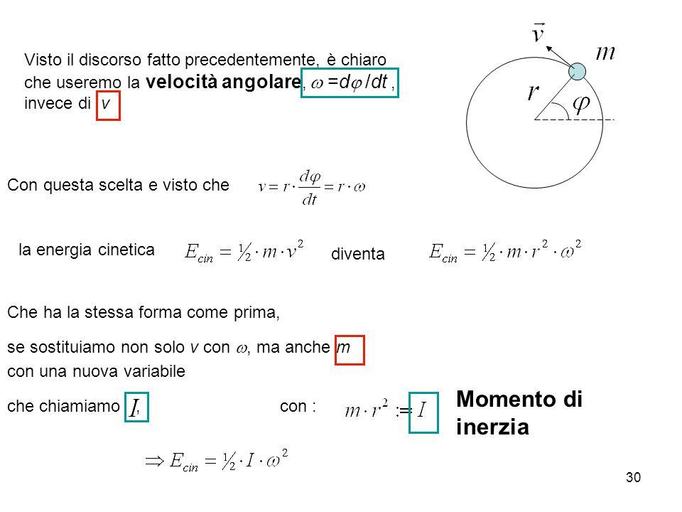 Visto il discorso fatto precedentemente, è chiaro che useremo la velocità angolare, w =dj /dt , invece di v