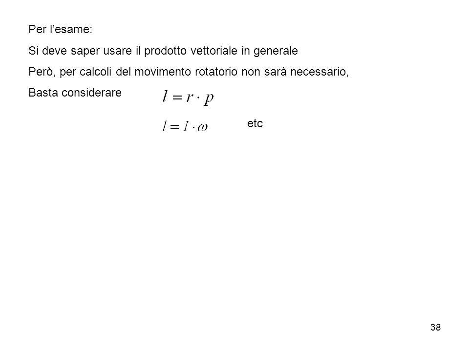 Per l'esame: Si deve saper usare il prodotto vettoriale in generale. Però, per calcoli del movimento rotatorio non sarà necessario,