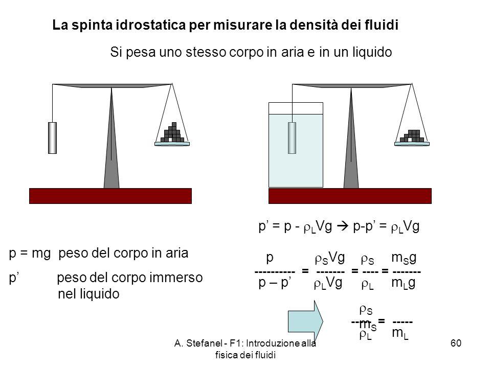 La spinta idrostatica per misurare la densità dei fluidi
