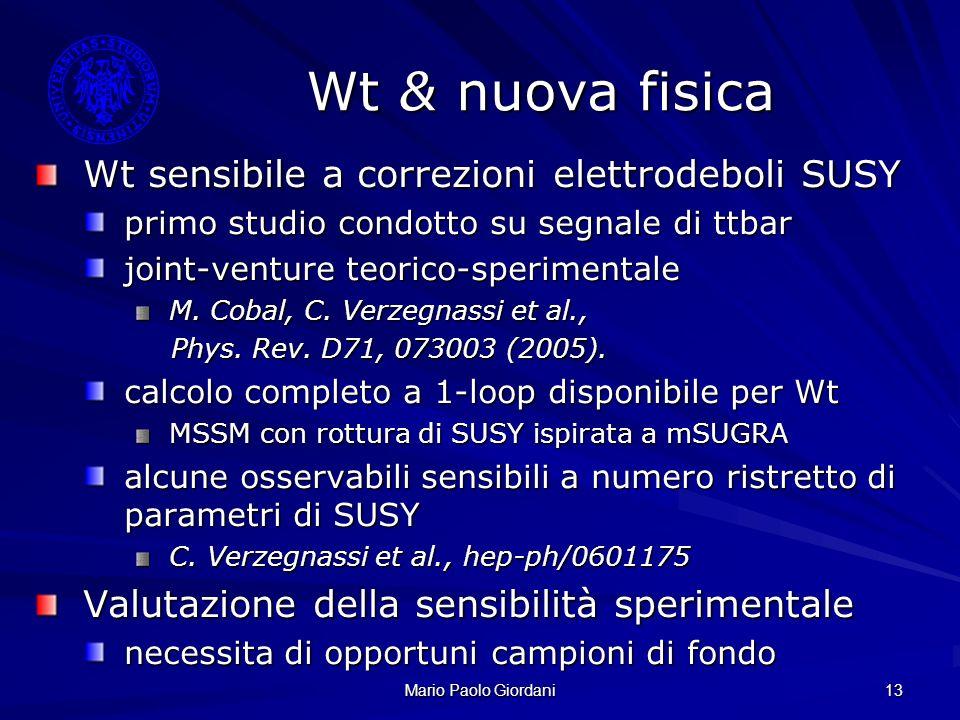 Wt & nuova fisica Wt sensibile a correzioni elettrodeboli SUSY