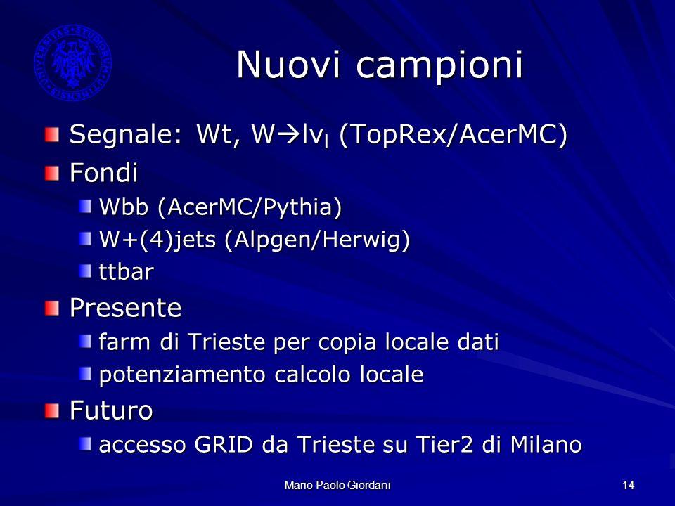 Nuovi campioni Segnale: Wt, Wlνl (TopRex/AcerMC) Fondi Presente