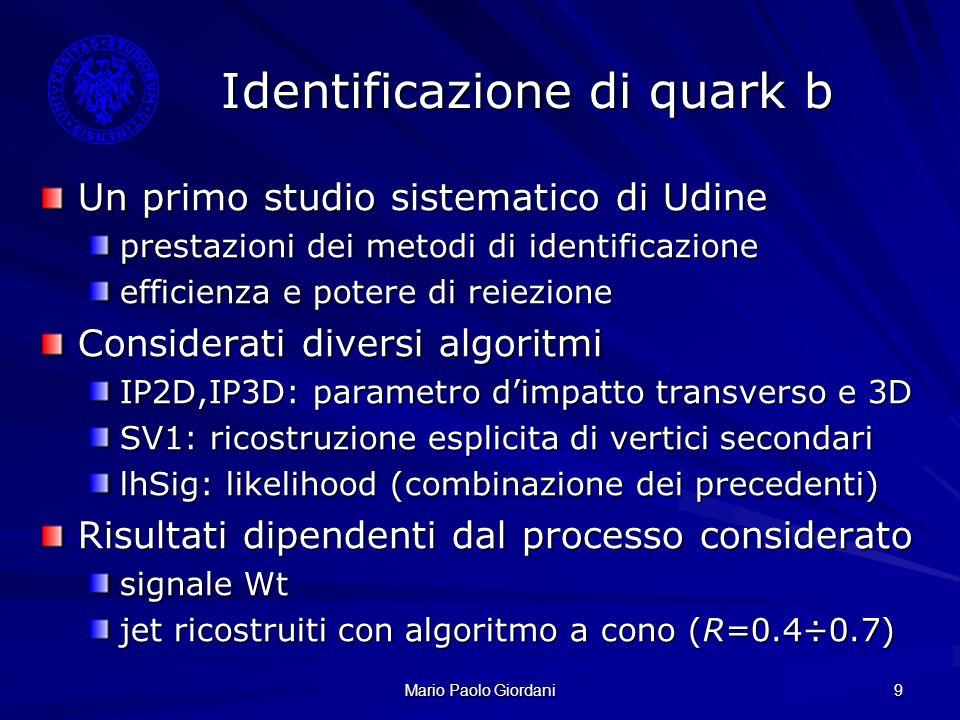 Identificazione di quark b