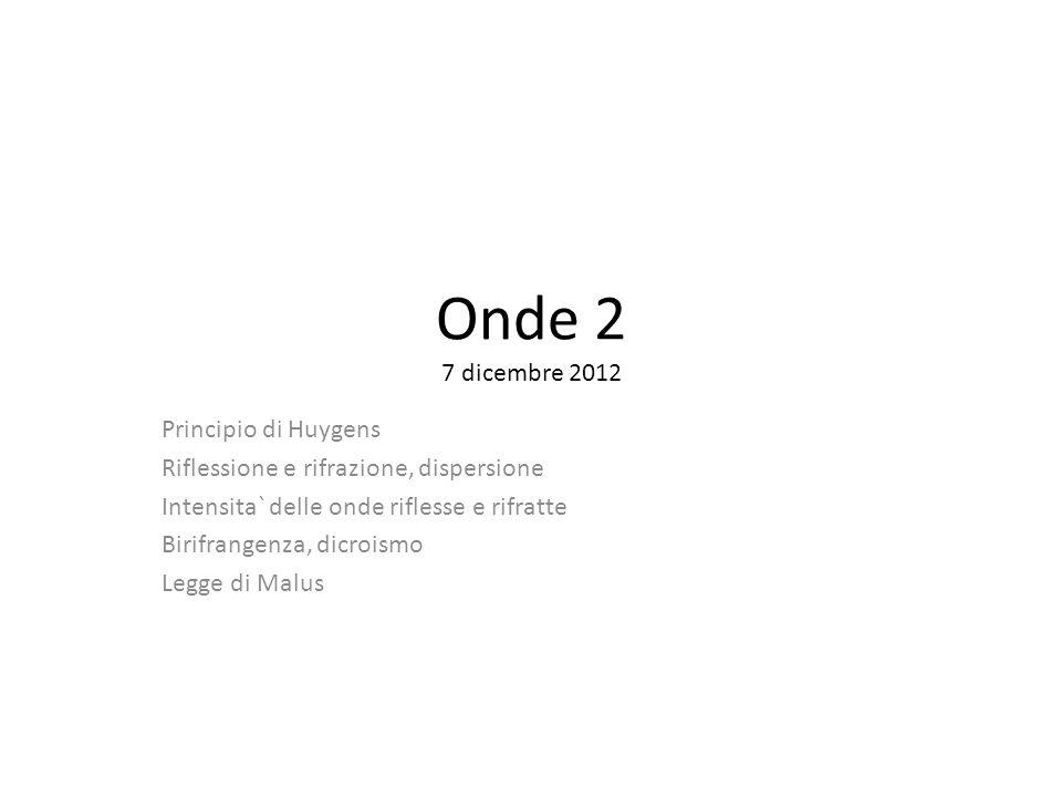 Onde 2 7 dicembre 2012 Principio di Huygens