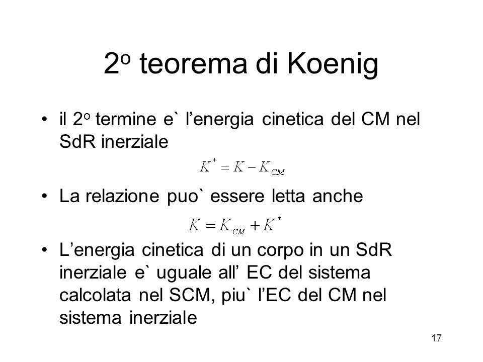 2o teorema di Koenig il 2o termine e` l'energia cinetica del CM nel SdR inerziale. La relazione puo` essere letta anche.