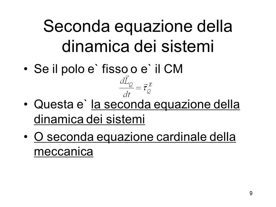 Seconda equazione della dinamica dei sistemi