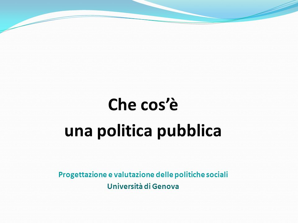 Progettazione e valutazione delle politiche sociali