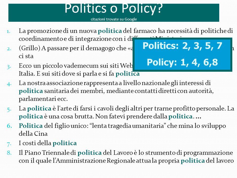 Politics o Policy citazioni trovate su Google