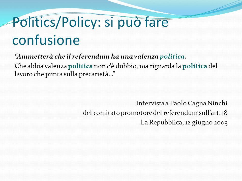 Politics/Policy: si può fare confusione