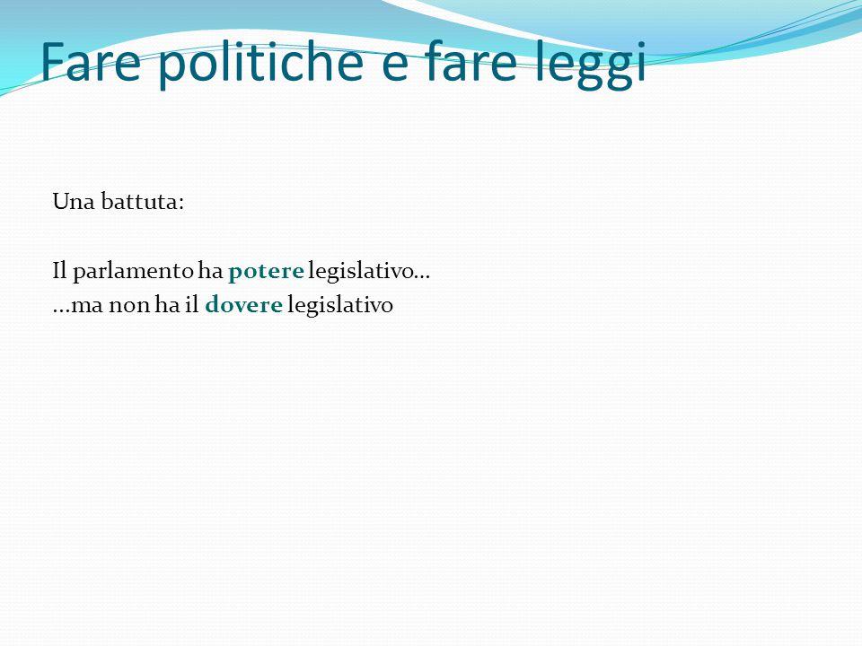 Fare politiche e fare leggi