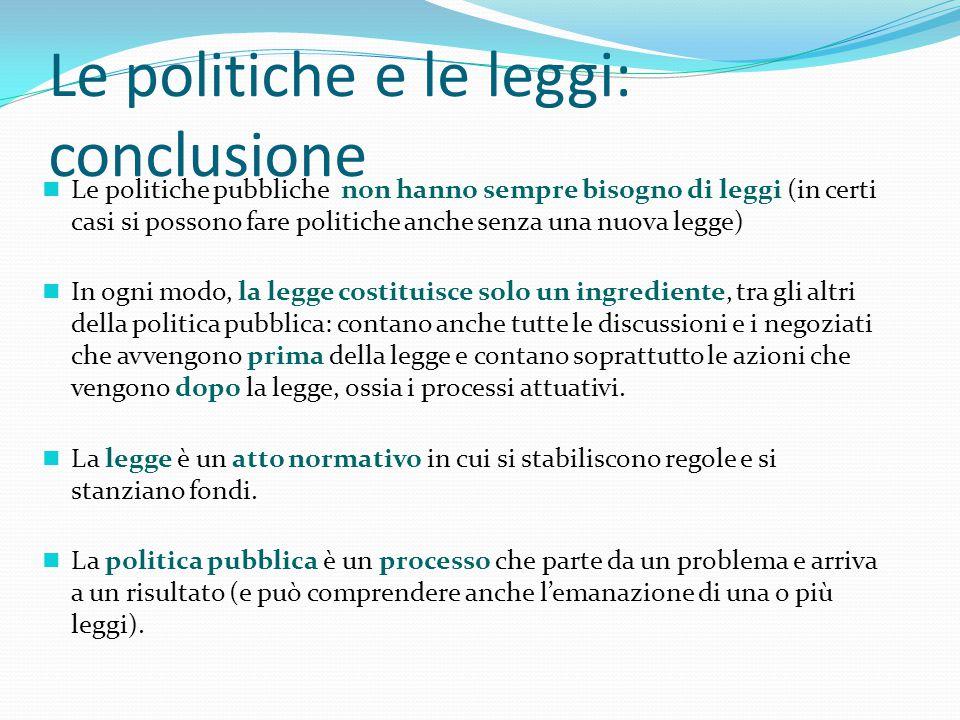 Le politiche e le leggi: conclusione